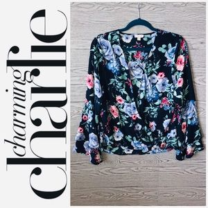 CC | Double Bell Sleeve Boho Floral Top (L)